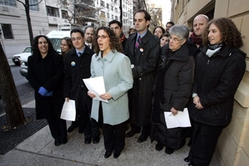 Conservative rabbinical students welcome the movement's endorsement of a halachic position allowing gay rabbis and commitment ceremonies, Dec. 6, 2006, in New York. (David Karp)