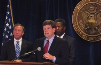 Paul McNulty, then the U.S. Attorney for eastern Virginia, announces indictments against two former AIPAC officials in 2005. (Avi Mayer)