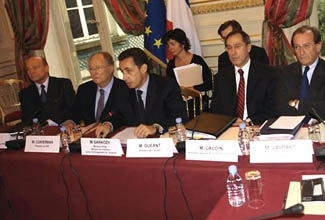 French Interior Minister Nicolas Sarkozy, third from left, meets with representatives of a French Jewish group, CRIF, in February 2006. (Alain Azria)