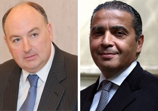 Moshe Kantor, left, and incumbent Pierre Besnainou are running for the presidency of the European Jewish Congress. (Photo, left,  European Jewish Fund; right, Kaisui Group)