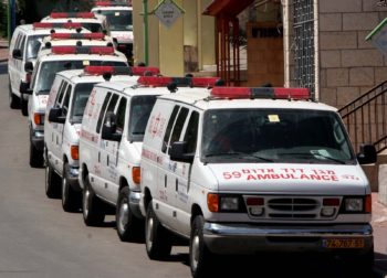 Magen David Adom ambulances are seen lined up and waiting in Sderot as Hamas continued to bombard the town with Kassam rockets fired from Gaza, May 19, 2007. While Chabad is seizing on the growth in e-philanthropy to help Sderot, other Jewish charities ha (Brian Hendler)
