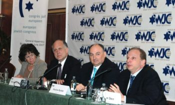 Ronald Lauder, second from left, and Moshe Kantor, the new presidents of the World Jewish Congress and European Jewish Congress, respectively, sit alongside each other at a June 26 news conference. They are flanked by Flo Kaufmann, the new chairwoman of t (Elie Bennett)
