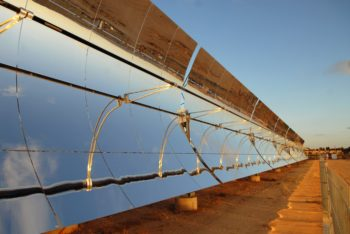 Solel's solar thermal parabolic trough technology, shown in Sde Boker, Israel, will be used in Mojave Desert facility. (Solel)