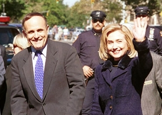 Hillary Clinton and Mayor Rudy Giuliani, October 5, 1996,  at the dedication of the Eleanor Roosevelt statue in New York City's Riverside Park.  (Michael Fenichel)