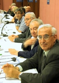 Amram Attias, right, president of the International Committee of Jews from Arab Lands, takes part in a meeting of the World Sephardic Conference in Jerusalem on June 17. (Brian Hendler)
