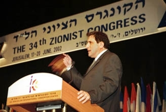 Sallai Meridor, chairman of the Jewish Agency for Israel, makes a speech at the 34th World Zionist Congress in Jerusalem on June 18. (Brian Hendler)