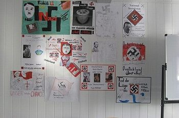 In a school assignment that prompted an uproar in Kiev, a teacher at the Pechersk School International had students design Nazi election posters that were then hung up around the school. (UNIAN)