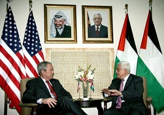President Bush meets with Palestinian Authority President Mahmoud Abbas in Ramallah on Jan. 10, 2008. (PPO / BPH IMAGES)