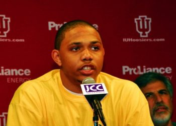 Freshman Eric Gordon announces he will leave Indiana University for the NBA at the Jewish Community Center in Indianapolis, April 8, 2008. (Linda Evans)