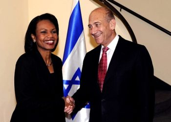 U.S. Secretary of State Condoleezza Rice meets with Israeli Prime Minister Ehud Olmert at his residence in Jerusalem on June 15, 2008 during her sixth visit to Israel since the Annapolis conference last November. (Matty Stern/BPH Images  )