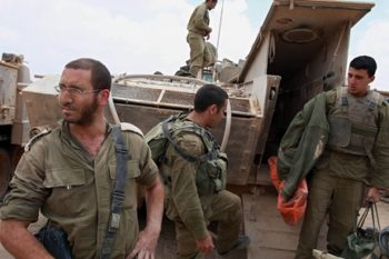Israeli soldiers at an army base in southern Israel June 11, 2008 after returning from an overnight operation against Palestinian militants in the Gaza Strip. Israel's truce with Hamas took effect nine days later. (BPH Images )
