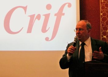 CRIF President Richard Prasquier at a July 2, 2008 news conference calls on French President Nicolas Sarkozy to create an independent body to investigate the al-Dura report.  (Devorah Lauter )