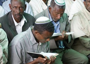 The aid compound in Gondar, Ethiopia, includes a school and synagogue where Ethiopians learn Jewish prayers. (Ron Csillag)