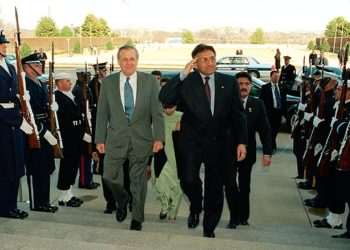 The resignation of Pakistani President Pervez Musharraf, on right alongside former U.S. Defense Secretary Donald Rumsfeld in this Feb. 13, 2002 photo, has stoked concerns among Jewish groups about Western ties to Islamabad.  (U.S. Department of Defense)