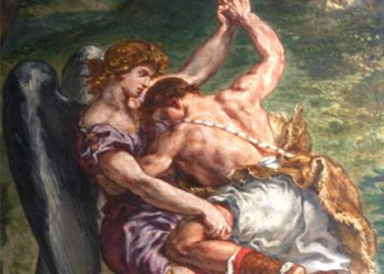 """A gay synagogue's new blessing for """"unexpected intimacy"""" draws on the biblical story of Jacob wrestling with the angel, as depicted by Eugene Delacroix in this 1861 painting. (Creative Commons)"""