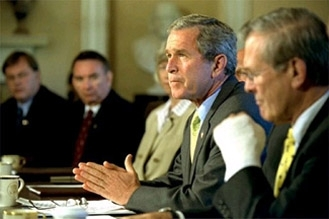President Bush condemns the Hebrew University attack and sends sympathy to the victims´ families during a Cabinet meeting July 31. (White House Photo)