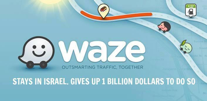 A viral Israeli Facebook graphic commanding Waze for their decision to stay in Israel. (Facebook)