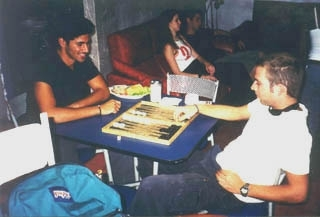 These Israelis, who recently completed their army service, lounge in a Guatemalan cafe. (Peter Ephross)