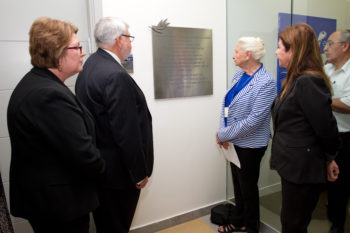 The dedication of the Amnon Lipkin-Shahak Conference Room at the Yitzhak Rabin Center in Tel Aviv in honor of the American Federation of Government Employees and J. David Cox, its national president, April 18, 2013. Joining Cox, second from left, are Lynne Cox, left; Barbara Easterling, president of the Alliance for Retired Americans; and Rabin's daughter Dalia. (Debbie Zimelman)