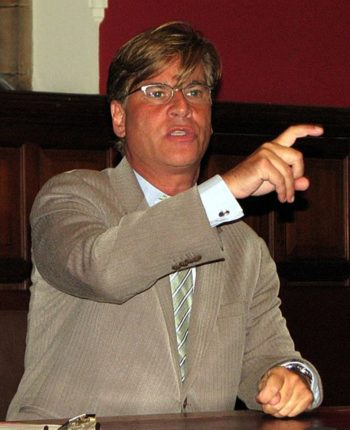 """Aaron Sorkin, pictured here speaking at the Oxford Union in 2009, was nominated for a best screenplay Golden Globe for """"Moneyball.""""  (via Wikipedia)"""