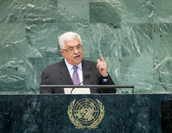 Palestinian Authority President Mahmoud Abbas addressing the U.N. General Assembly, Sept. 25, 2012.  (UN Photo/J Carrier)