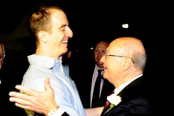 Rep. Gary Ackerman (D-NY), right, greets Ilan Grapel, a dual U.S.-Israeli citizen who had been a former Ackerman intern, on Oct. 27, 2011, following the latter's release from imprisonment in Egypt.  (U.S. Embassy Tel Aviv)