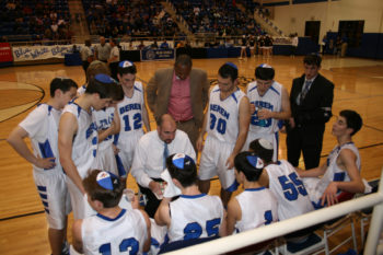 Beren coach Chris Cole instructing his players during a timeout at the championship game, March 3, 2012. (Samantha Steinberg)