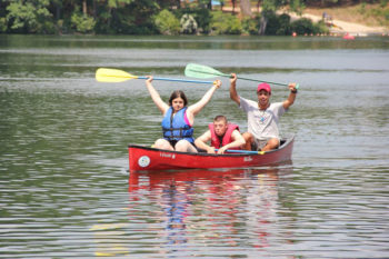 Canoers in the Tikvah program at Camp Ramah in Palmer, Mass., which accommodates youngsters with special needs.  (Camp Ramah)