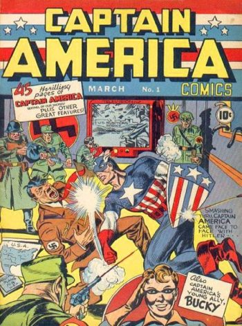 "The March 1941 front cover of ""Captain America #1,"" the creation of two second-generation Jews, showing its titular hero punching Hitler in the face.  ()"