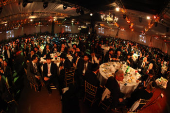 Thousands attend the gala banquet of the international Chabad-Lubavitch emissaries conference at the Brooklyn Cruise Terminal in New York on Nov. 27, 2011. (Meir Alfasi/Chabad.org)