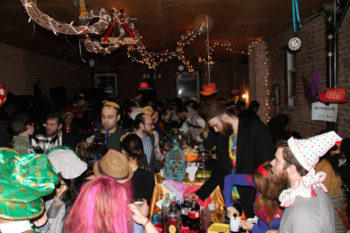 Chevra Ahavas Yisroel, a new synagogue in the Crown Heights section of Brooklyn shown here celebrating 2013 Purim, is breaking down stereotypes within the Chabad community.  (Courtesy Chevra Ahavas Yisroel)