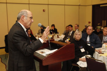 Rabbi Howard Berman promoting Classical Reform Judaism at the Union for Reform Judaism biennial in Toronto in November 2009. (Mark Blinch / Union for Reform Judaism)