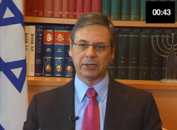 """Israeli Deputy Foreign Minister Danny Ayalon making his plea for a minute of silence at the London Olympics in the """"Just One Minute"""" campaign video.  (Danny Ayalon Youtube Channel)"""