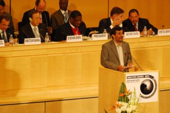 Iranian President Mahmoud Ahmadinejad's speech at the Durban Review Conference in Geneva on April 20, 2009 prompted walkouts by numerous European countries. (Michael J. Jordan)