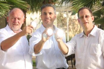 Left to right, Ed Hofland, David Rosenblatt and Yosef Abramowitz, co-founders of the Arava Power Company.  (Courtesy Arava Power Company)