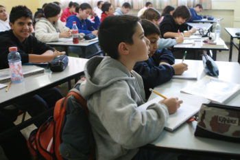 Israeli middle-schoolers, shown studying in a classroom in 2007, have scored better on international tests since that year.  (Maya Levin / Flash90 )