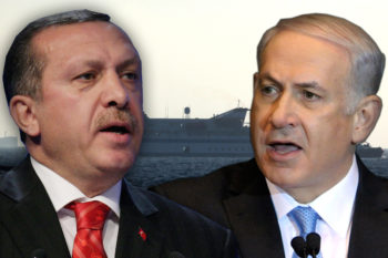 Turkish Prime Minister Recep Tayyip Erdogan, left, and Israeli Prime Minister Benjamin Netanyahu agreed to normalize relations almost three years after the Mavi Marmara flotilla raid.  (Kobi Gideon/Flash90/Graphics by Uri Fintzy)