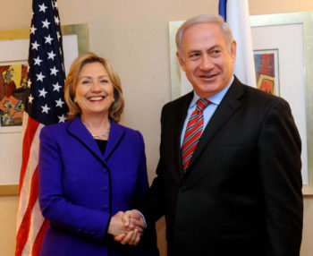 Israeli Prime Minister Benjamin Netanyahu meets with U.S. Secretary of State Hillary Clinton in New York, Nov. 11, 2010. The two reportedly are close to a deal for Israel to freeze settlement construction for another 90 days.  (Avi Ohayon / FLASH90 )