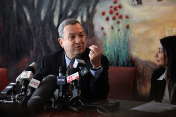 Defense Minister Ehud Barak announcing his intention to quit the Labor Party he heads to form a new faction, called Independence, Jan. 17, 2011.  (Abir Sultan/Flash90)