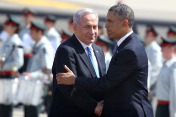 Israeli Prime Minister Benjamin Netanyahu greeting President Obama at a welcome ceremony for the president at Ben Gurion Airport near Tel Aviv, March 20, 2013. (Miriam Alster / Flash90)