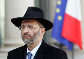 Gilles Bernheim, the chief rabbi of France, leaving the Elysee Palace in Paris after meeting with then-French President Nicolas Sarkozy, March 21, 2012.  (Franck Prevel/Getty)