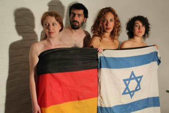 """Performers of """"Minute of Silence,"""" a new production by Hila Golan and Ariel Nil Levy in Berlin that explores German and Israeli ways of confronting the Holocaust. (Toby Axelrod)"""