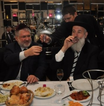 The European Jewish Parliament is the brainchild of Ukrainian billionaire businessmen Igor Kolomoisky, left, shown with Israeli Chief Rabbi Yona Metzger at Berlin's Chabad center at an October 2010 conference of the European Council of Jewish Communities, and Vadim Rabinovitch.  (Berlin Chabad)