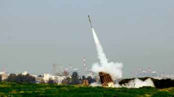 Israel's Iron Dome defense system near the Israeli town of Ashdod has intercepted a volley of rockets fired by terrorist groups from the Gaza Strip area, March 11, 2012.  (Flash90)