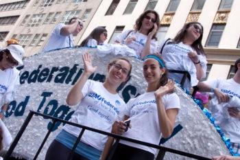 "Members of the UJA-Federation of New York at the ""Celebrate Israel Parade"" in New York City, June 3, 2012.  (Courtesy UJA-Federation of New York)"