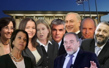 Left to right, Hanin Zouabi, Zehava Gal-on, Shelly Yachimovich, Tzipi Livni, Yair Lapid, Avigdor Liberman, Benjamin Netanyahu, Naftali Bennett and Aryeh Deri.  (Graphics by Uri Fintzy)