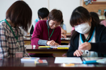 Teachers in Wateri, Japan, get a chance to work through the emotional effect of the devastating earthquake and tsunami in a post-trauma course run by IsraAid.     (Nofar Tagar for IsraAid.)