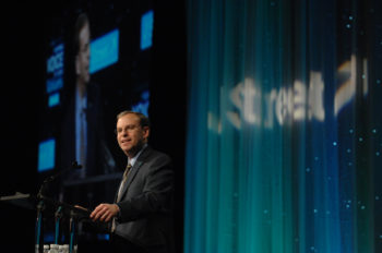 Jeremy Ben-Ami, J Street's executive director, speaks at the organization's gala dinner, Feb. 28, 2011.  (J Street)