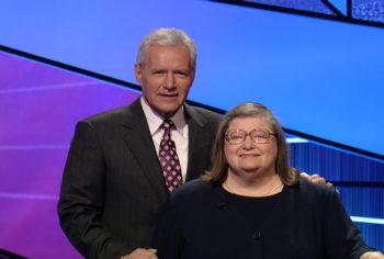"""Rabbi Joyce Newmark, shown with """"Jeopardy!"""" host Alex Trebek, won $29,200 and the championship in her first appearance on the game show, which aired May 16, 2011. (Courtesy of Jeopardy Productions, Inc.)"""
