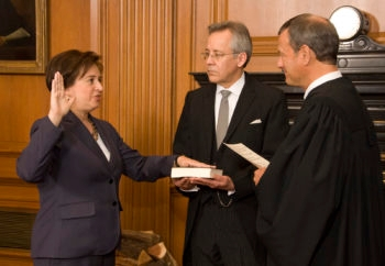 Chief Justice John G. Roberts, Jr., administers the Constitutional Oath to Elena Kagan in the Justices' Conference Room on Saturday, August 7, 2010. (Steve Petteway, Collection of the Supreme Court of the United States)